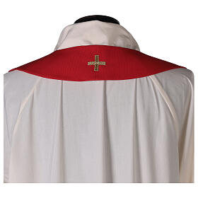 Monastic Chasuble with cross, rays and IHS embroidery in 80% polyester 20% wool s7