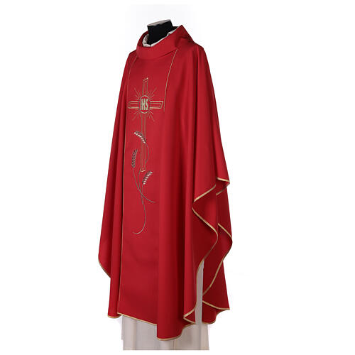 Monastic Chasuble with cross, rays and IHS embroidery in 80% polyester 20% wool 3