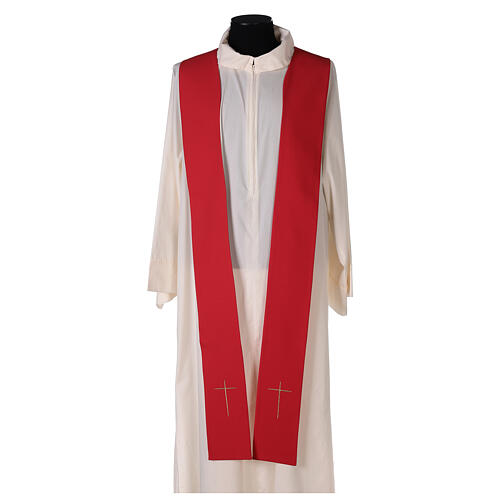 Monastic Chasuble with cross, rays and IHS embroidery in 80% polyester 20% wool 5