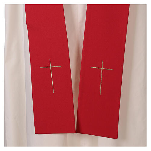 Monastic Chasuble with cross, rays and IHS embroidery in 80% polyester 20% wool 6