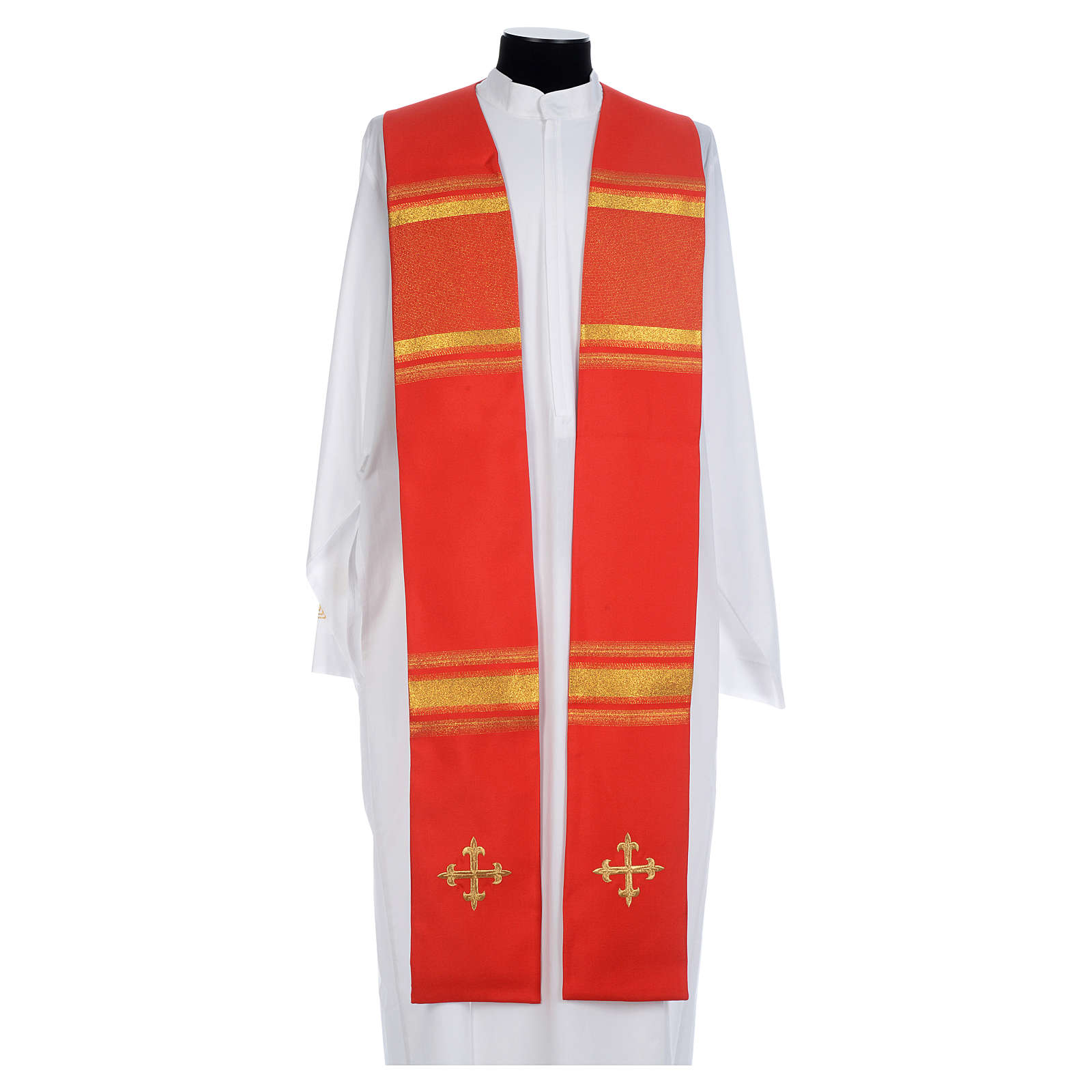 Chasuble in 100% polyester, cross and golden embroidery 4