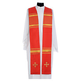 Chasuble in 100% polyester, cross and golden embroidery s1