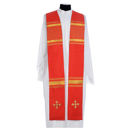 Chasuble in 100% polyester, cross and golden embroidery 1