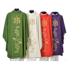 Chasuble in 80% polyester 20% wool, IHS golden embroidery s1