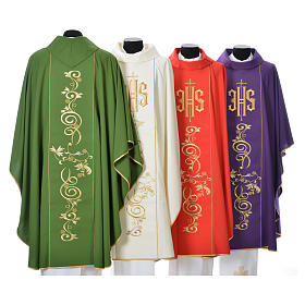 Chasuble in 80% polyester 20% wool, IHS golden embroidery s2