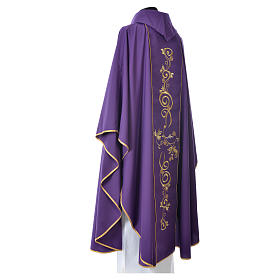 Chasuble in 80% polyester 20% wool, IHS golden embroidery s4