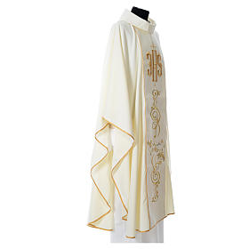 Chasuble in 80% polyester 20% wool, IHS golden embroidery s6