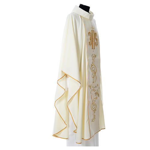 Chasuble in 80% polyester 20% wool, IHS golden embroidery 6