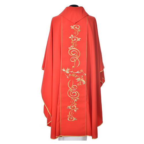 Chasuble in 80% polyester 20% wool, IHS golden embroidery 8