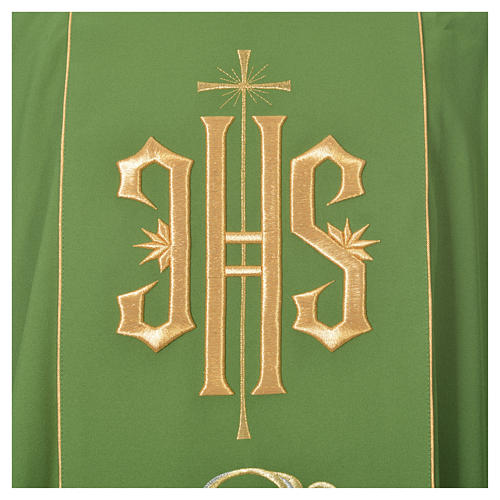 Chasuble in 80% polyester 20% wool, IHS golden embroidery 9