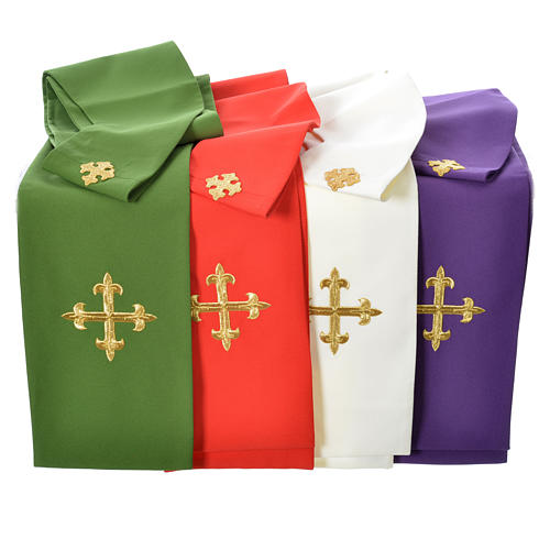 Chasuble in 80% polyester 20% wool, IHS golden embroidery 11