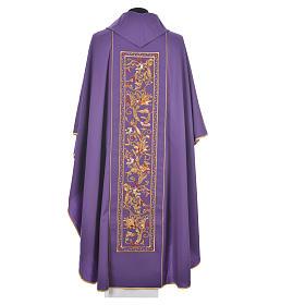 Casulla 100% lana IHS, decoraciones espigas uva s9