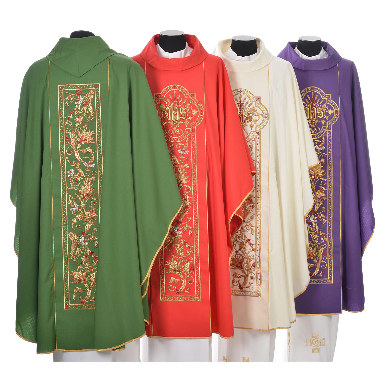 Chasuble in 100% wool, IHS, ears of wheat embroidery 4