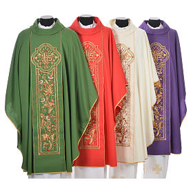Chasuble in 100% wool, IHS, ears of wheat embroidery s1