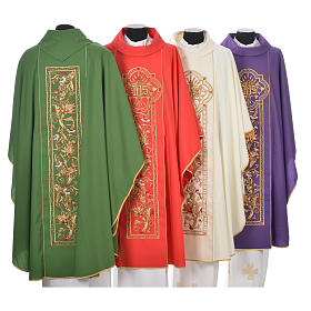Chasuble in 100% wool, IHS, ears of wheat embroidery s2
