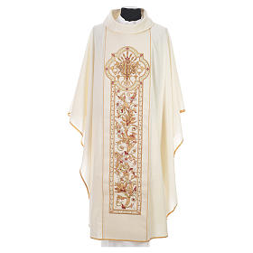 Chasuble in 100% wool, IHS, ears of wheat embroidery s4