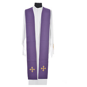 Chasuble in 100% wool, IHS, ears of wheat embroidery s14