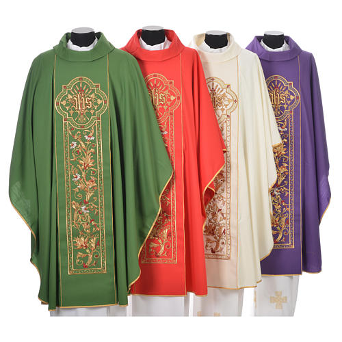 Chasuble in 100% wool, IHS, ears of wheat embroidery 1