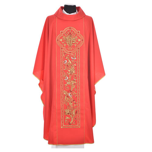 Chasuble in 100% wool, IHS, ears of wheat embroidery 5