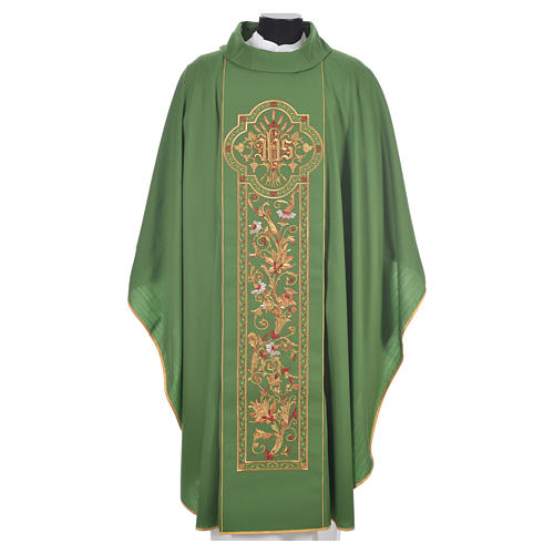 Chasuble in 100% wool, IHS, ears of wheat embroidery 6