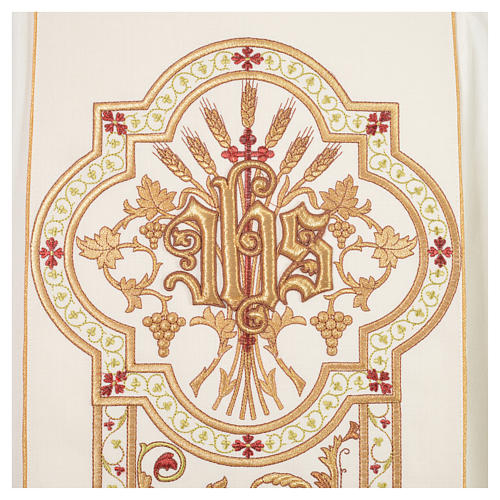 Chasuble in 100% wool, IHS, ears of wheat embroidery 7
