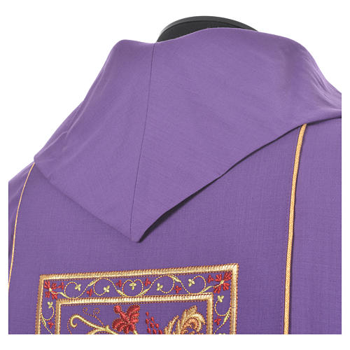 Chasuble in 100% wool, IHS, ears of wheat embroidery 10