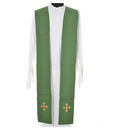 Chasuble in 100% wool, IHS, ears of wheat embroidery 11