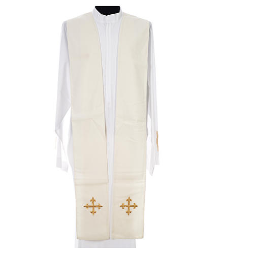 Chasuble in 100% wool, IHS, ears of wheat embroidery 13
