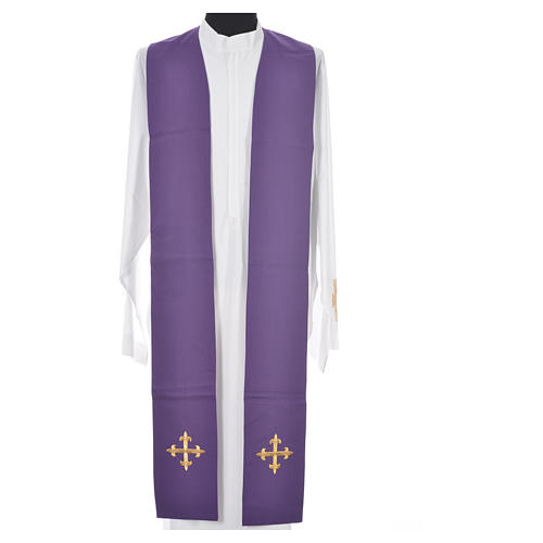 Chasuble in 100% wool, IHS, ears of wheat embroidery 15