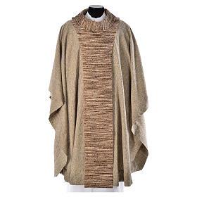 Casullas: Casulla franciscana algodón y seda beige