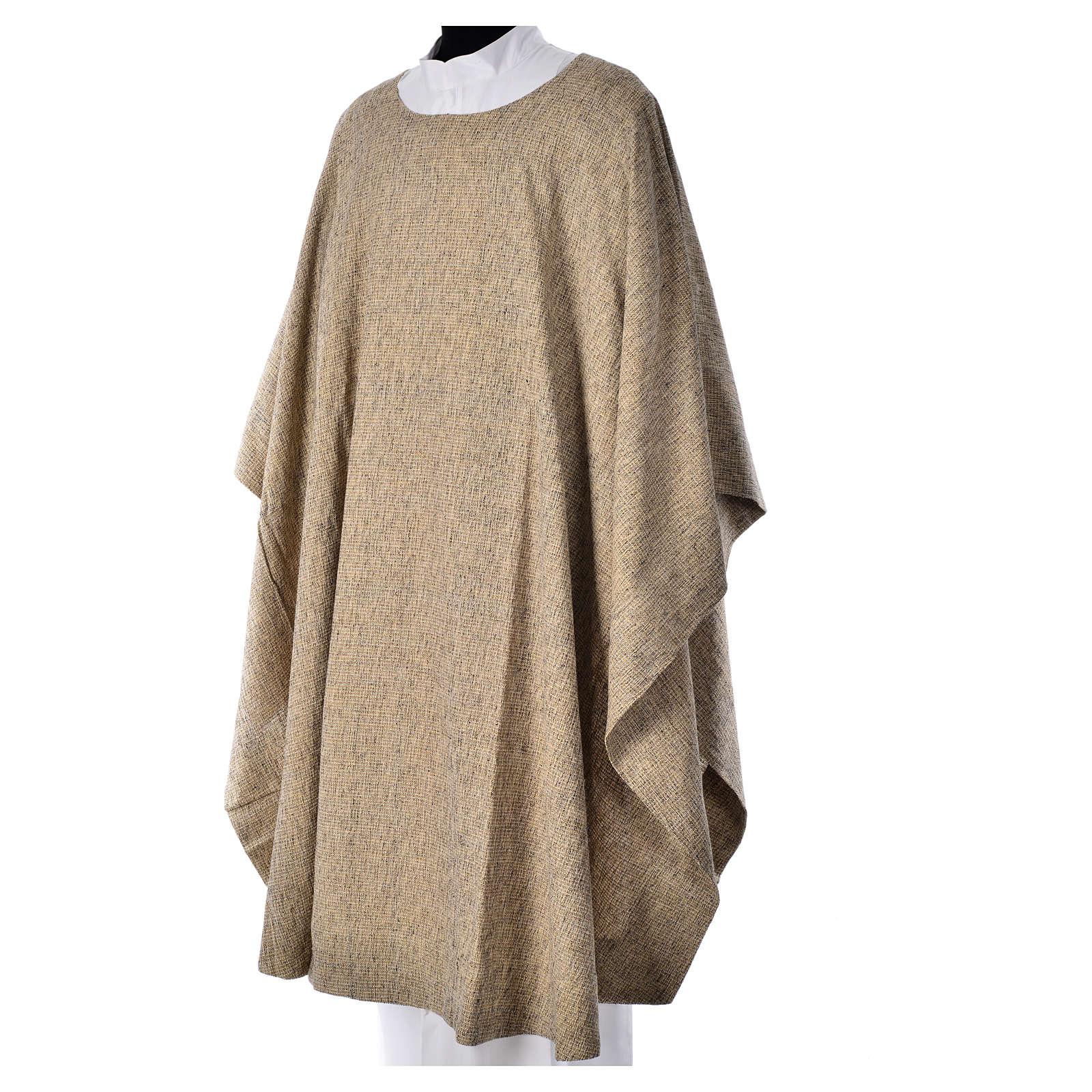 Casula francescana cotone e seta beige 4
