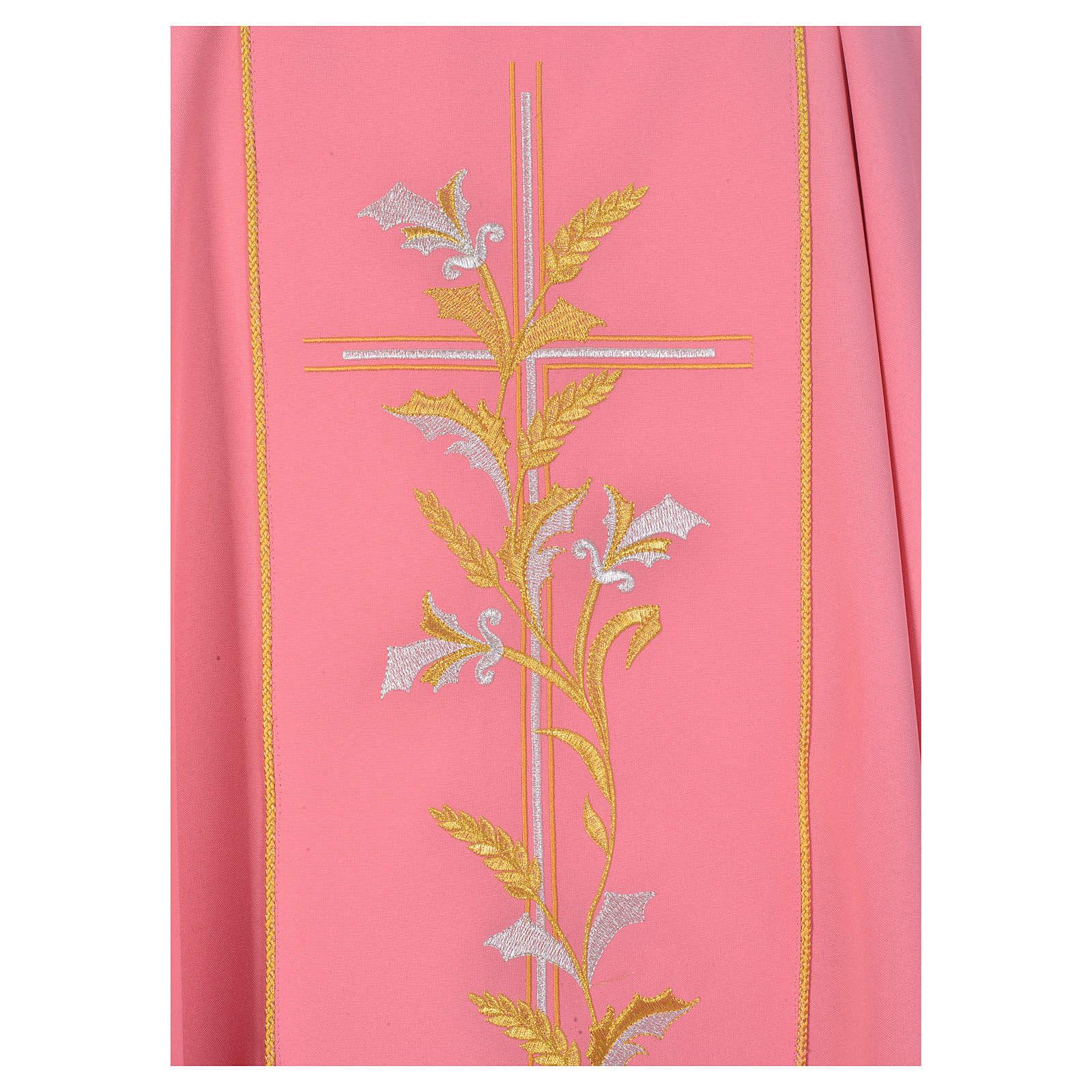 Ornat kapłański różowy 100% poliester krzyż lilie 4