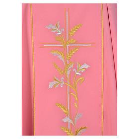 Ornat kapłański różowy 100% poliester krzyż lilie s3
