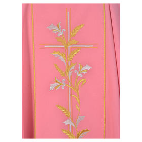 Casula sacerdote cor-de-rosa 100% poliéster cruz lírios s3