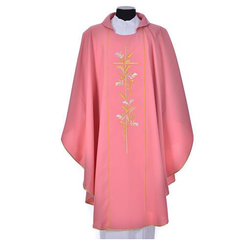 Casula sacerdote cor-de-rosa 100% poliéster cruz lírios 1