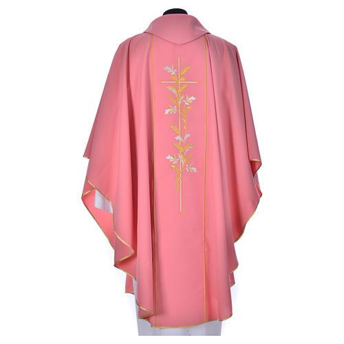Casula sacerdote cor-de-rosa 100% poliéster cruz lírios 2