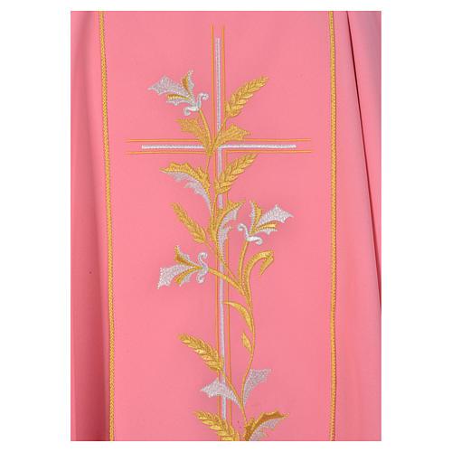 Casula sacerdote cor-de-rosa 100% poliéster cruz lírios 3