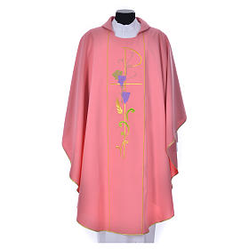 Casula sacerdotale rosa 100% poliestere XP uva spighe s1