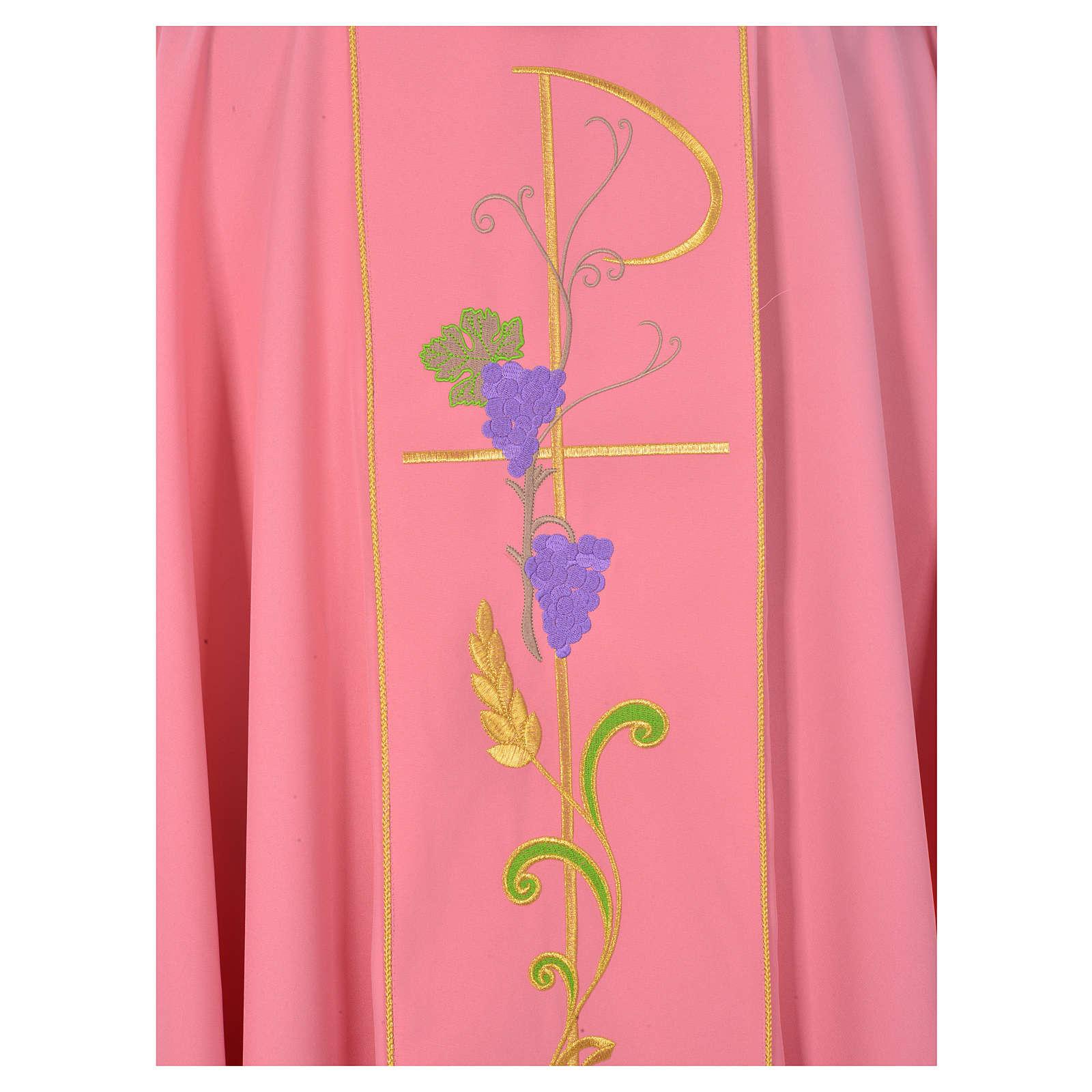 Casula sacerdote cor-de-rosa 100% poliéster Chi-Rho uva trigo 4