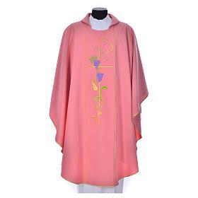 Casula sacerdote cor-de-rosa 100% poliéster Chi-Rho uva trigo s1