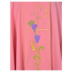 Casula sacerdote cor-de-rosa 100% poliéster Chi-Rho uva trigo s3