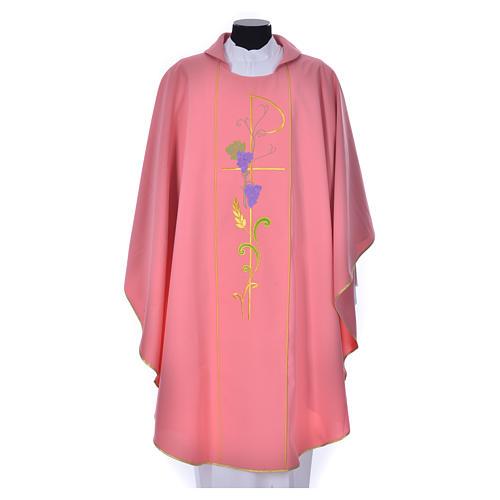 Casula sacerdote cor-de-rosa 100% poliéster Chi-Rho uva trigo 1