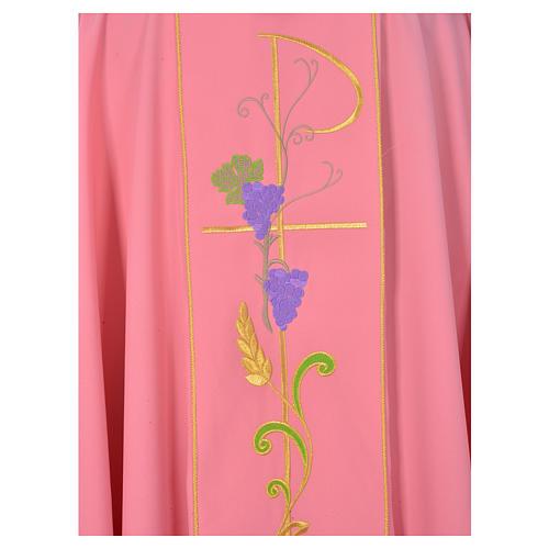 Casula sacerdote cor-de-rosa 100% poliéster Chi-Rho uva trigo 3