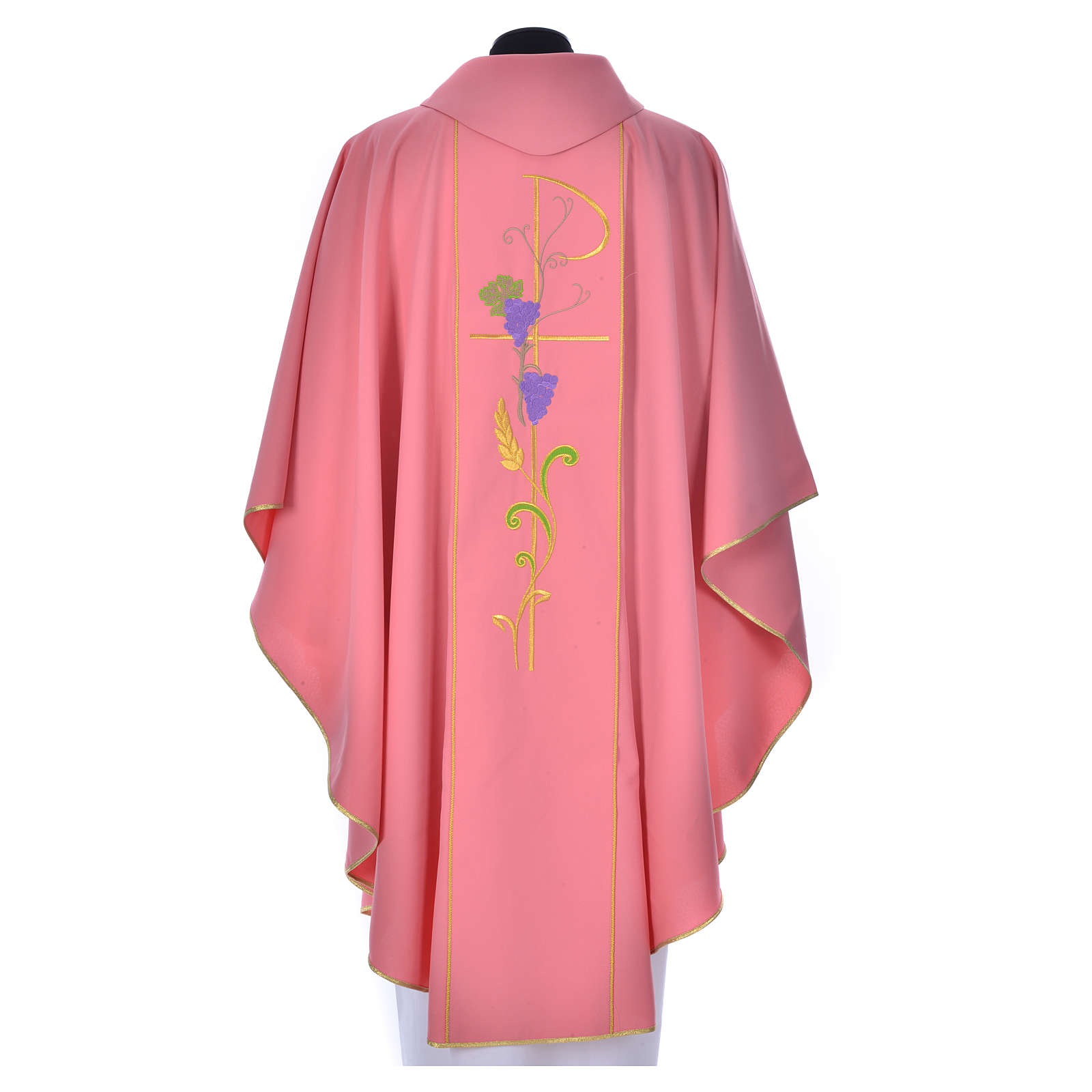 Pink chasuble in 100% polyester, Chi-Rho ears of wheat, grapes ...