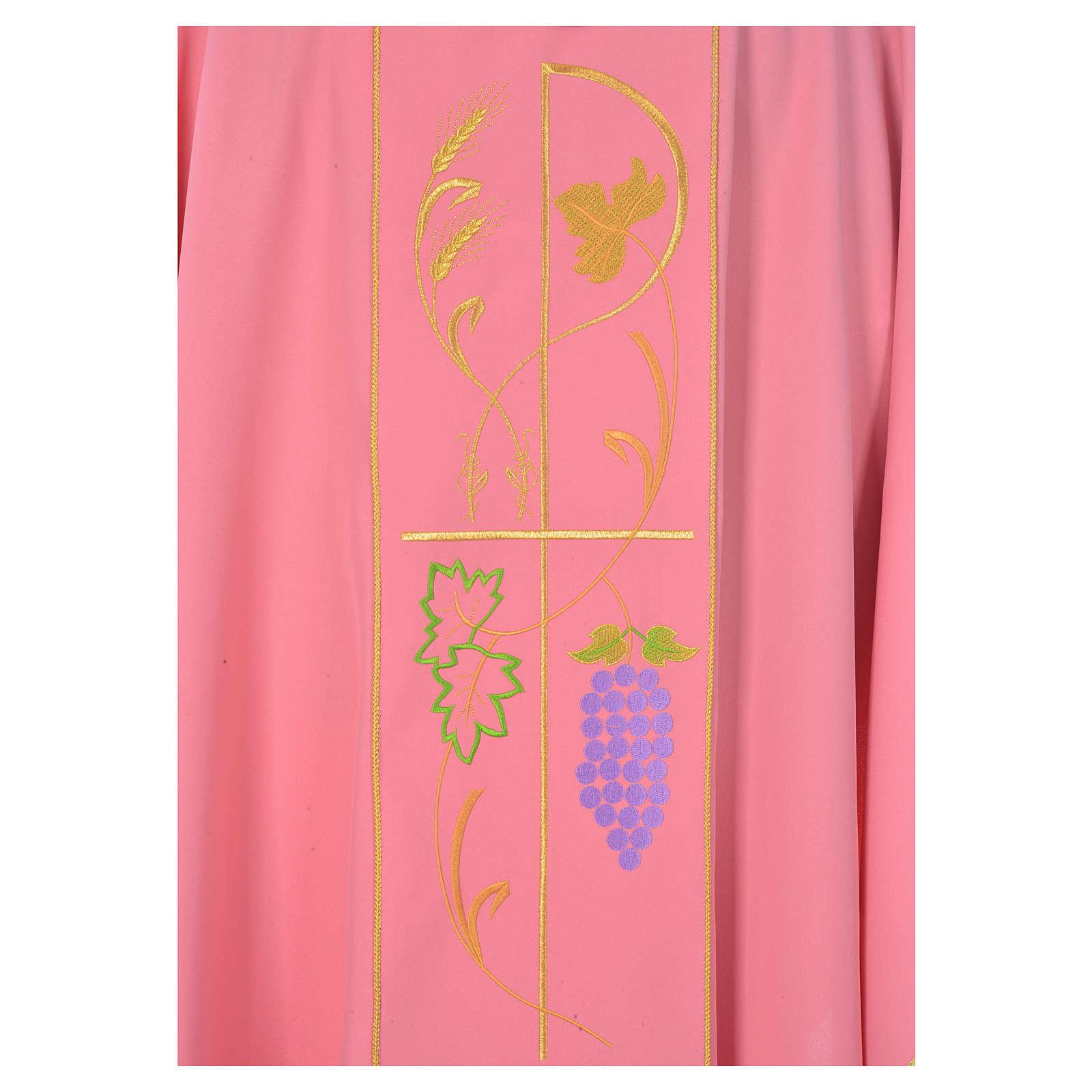 Casula sacerdotale rosa 100% poliestere spighe uva 4