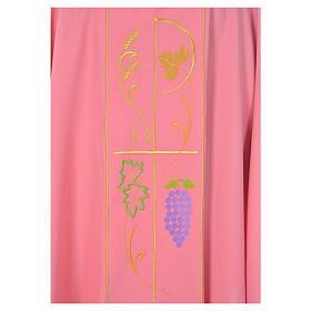 Casula sacerdotale rosa 100% poliestere spighe uva s3