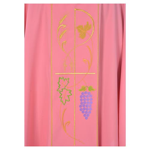 Casula sacerdotale rosa 100% poliestere spighe uva 3