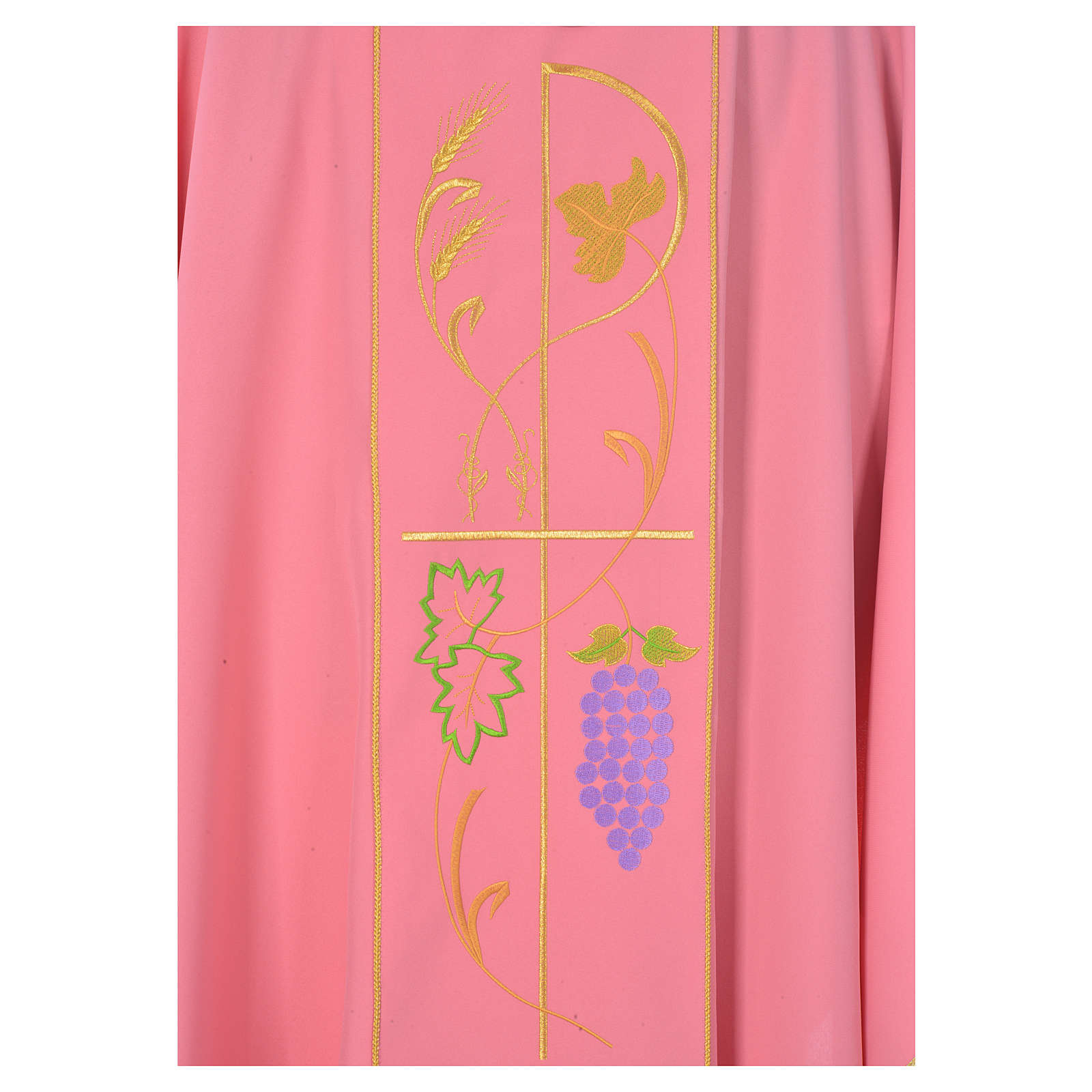Pink chasuble in 100% polyester, ears of wheat, grapes 4