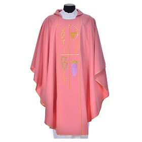 Pink chasuble in 100% polyester, ears of wheat, grapes s1