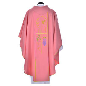 Pink chasuble in 100% polyester, ears of wheat, grapes s2
